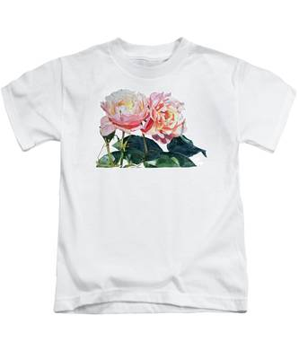 Pink And Yellow Rose Anne Kids T-Shirt