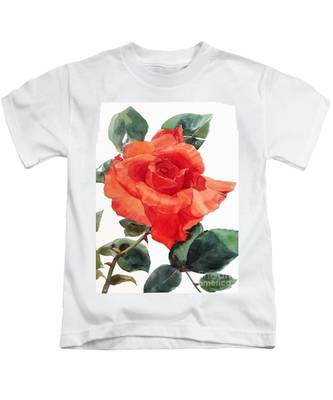 Watercolor Of A Single Red Rose I Call Red Rose Filip Kids T-Shirt