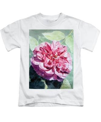 Watercolor Of A Pink Rose In Full Bloom Dedicated To Van Gogh Kids T-Shirt
