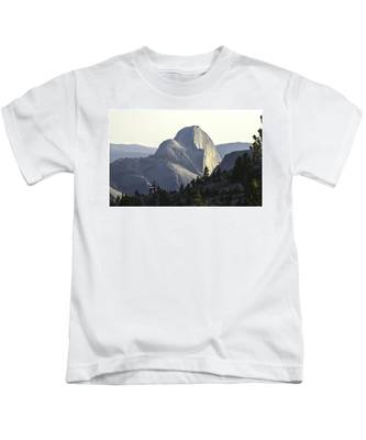 Sunset At Half Dome From Olmsted Pt Kids T-Shirt