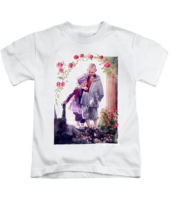 Watercolor Of A Boy And Girl In Their Secret Garden Kids T-Shirt
