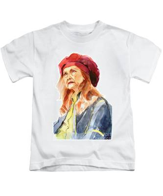 Watercolor Portrait Of An Old Lady Kids T-Shirt