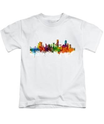 Boston Massachusetts Skyline Kids T-Shirt