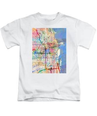Chicago City Street Map Kids T-Shirt