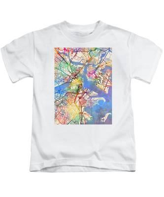 Boston Massachusetts Street Map Kids T-Shirt