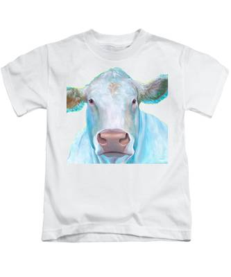 Charolais Cow Painting On White Background Kids T-Shirt
