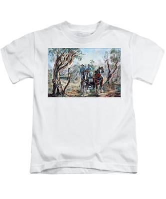 Clydesdales And Cart Kids T-Shirt