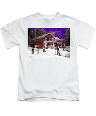 First Snow At The South Woodstock Country Store Kids T-Shirt