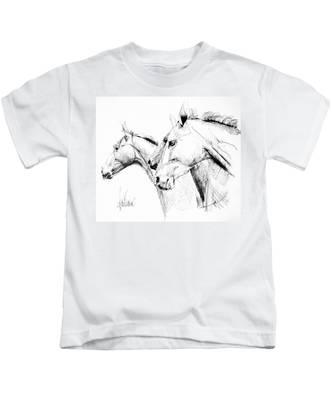 Horses - Ink Drawing Kids T-Shirt