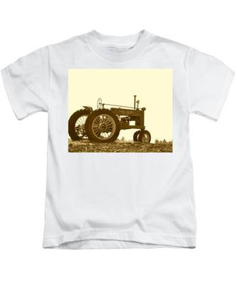 Old Tractor IIi In Sepia Kids T-Shirt