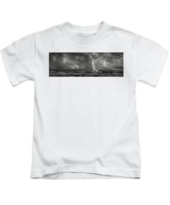 Kids T-Shirt featuring the photograph Sailing The Wine Dark Sea In Black And White by Endre Balogh