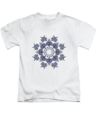 Silver Fractal Snowflake Kids T-Shirt