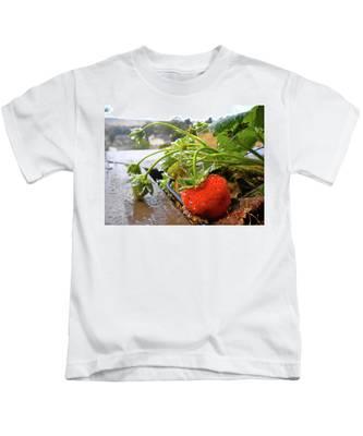 Strawberries And Rain Kids T-Shirt by Bridgette Gomes