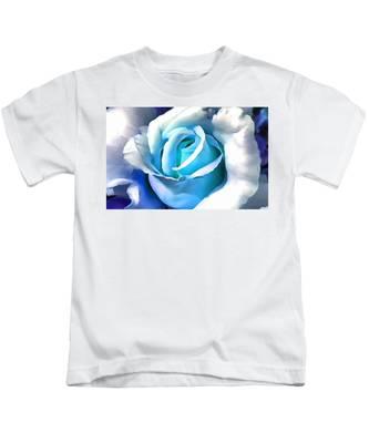 Turquoise Rose Kids T-Shirt