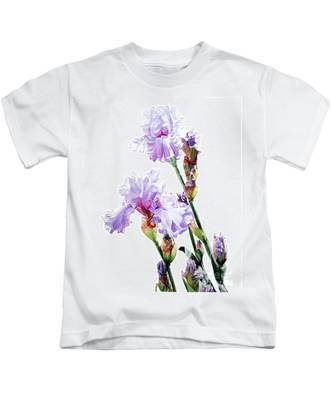 Watercolor Of A Tall Bearded Iris I Call Lilac Iris Wendi Kids T-Shirt