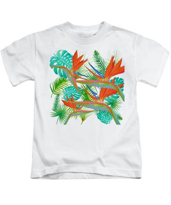 Bird Of Paradise Flower And Tropical Leaves And Ferns Kids T-Shirt
