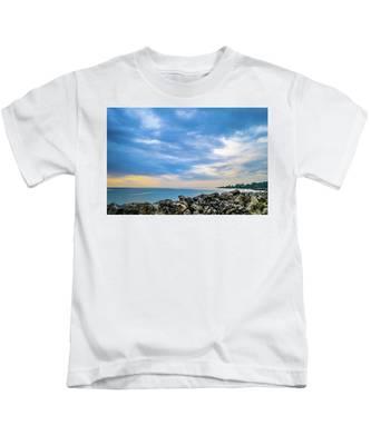 Cloudy City Coastline Kids T-Shirt