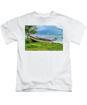 Rainy Fishing Day Kids T-Shirt