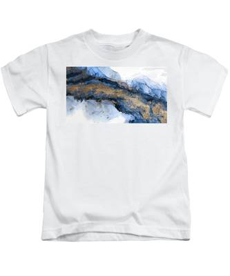 River Of Blue And Gold Abstract Painting Kids T-Shirt