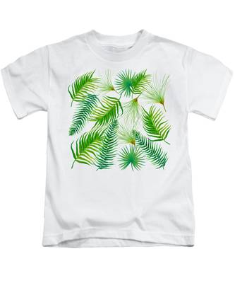 Tropical Leaves And Ferns Kids T-Shirt