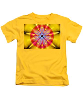Kids T-Shirt featuring the drawing Geo-cosmic Sri Yantra by Derek Gedney