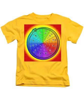 Kids T-Shirt featuring the drawing Ouroboros Alchemical Zodiac by Derek Gedney