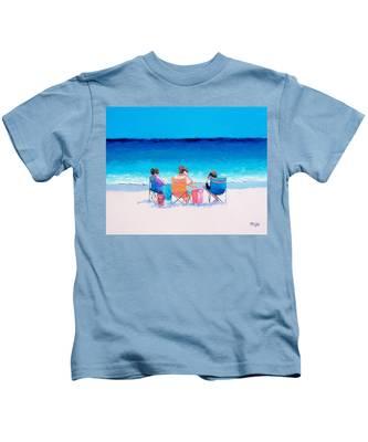 Beach Painting 'girl Friends' By Jan Matson Kids T-Shirt