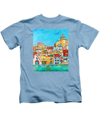 Boats In Front Of The Buildings Vii Kids T-Shirt