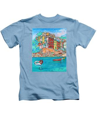 Boats In Front Of The Buildings X Kids T-Shirt