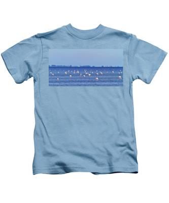 Flamingos In The Pond Kids T-Shirt