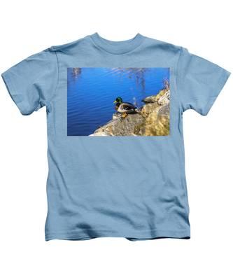Mallard Looking Over His Domain Kids T-Shirt