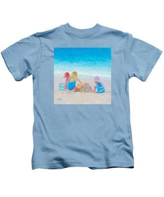Beach Painting - Building Sandcastles Kids T-Shirt