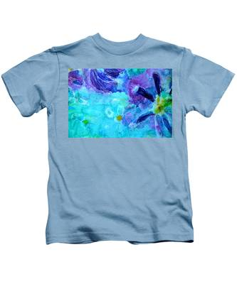 Blue Water Flower Kids T-Shirt
