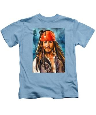 Johnny Depp As Jack Sparrow Kids T-Shirt