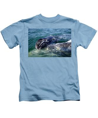 Mother Grey Whale And Baby Calf Kids T-Shirt
