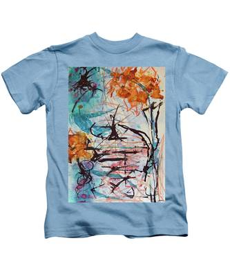 Orange Flowers In Vase Kids T-Shirt