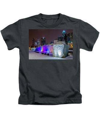 Charlotte Queen City Skyline Near Romare Bearden Park In Winter Snow Kids T-Shirt