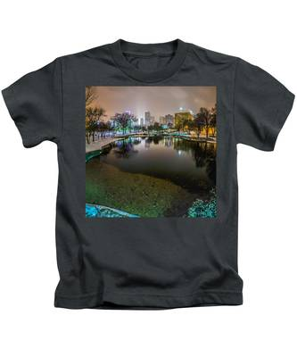 Charlotte Nc Skyline Covered In Snow In January 2014 Kids T-Shirt