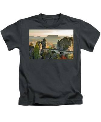 Autumn Afternoon On The Bastei Bridge Kids T-Shirt