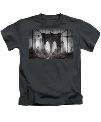 Brooklyn Bridge Snow Day Kids T-Shirt