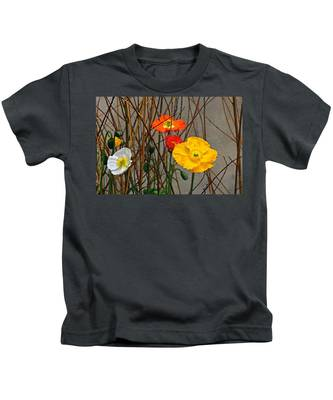 Colorful Poppies And White Willow Stems Kids T-Shirt