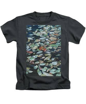 Leaves On Pond Kids T-Shirt