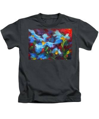 Nature's Palette - Himalayan Blue Poppy Oil Painting Meconopsis Betonicifoliae Kids T-Shirt