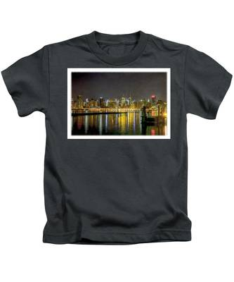 Nyc At Night Faux Oil Kids T-Shirt