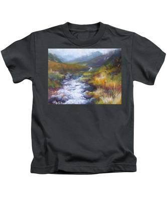 Running Down - Landscape View From Hatcher Pass Kids T-Shirt