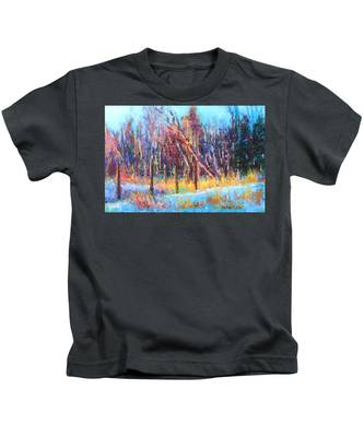 Signs Of Spring - Trees And Snow Kissed By Spring Light Kids T-Shirt