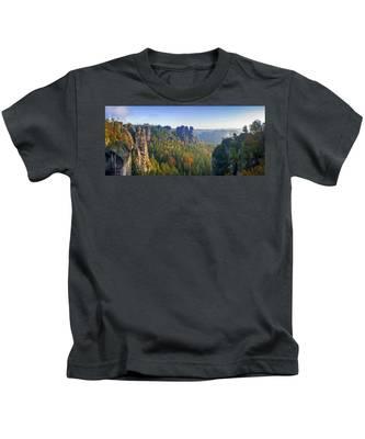 View From The Bastei Bridge In The Saxon Switzerland Kids T-Shirt