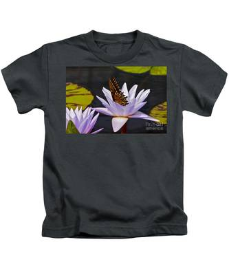 Water Lily And Swallowtail Butterfly Kids T-Shirt