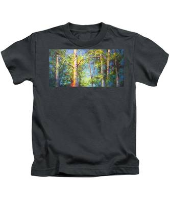 Welcome Home - Birch And Aspen Trees Kids T-Shirt
