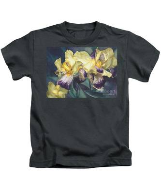 Watercolor Of A Tall Bearded Iris Painted In Yellow With Purple Veins Kids T-Shirt